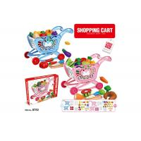 """Cheap W / Fruit Age 3 Pink 33Pcs Childrens Toy Kitchen Sets 17 """" Pretend Play Cashier Shopping Cart for sale"""