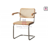 Cheap 0.44cbm Wood Cantilever Dining Chair SS201 With Canework Backrest for sale