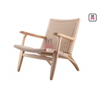 Cheap Ash Wood Armrest Garden Leisure Chair 0.45cbm With Rope Back for sale