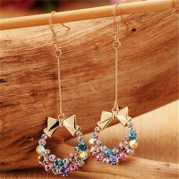 Cheap Fashion Jewelry Buy from China Alibaba Supplier Imitation Crystal Earrings for Women Colorful Bow Earrings Long Chain for sale