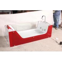 Cheap Red Rectangle ABS Acrylic Air Bubble Bathtubs For Bathroom 87 x 182 X 72cm for sale