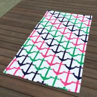 Colorful Anchor Beach Towel / Printed Beach Towels Excellent Water Absoption