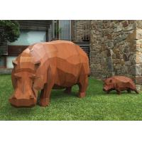 Cheap Contemporary Outdoor Metal Sculpture , Corten Steel Rhino Sculpture / Statue for sale