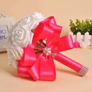 Cheap Wholesale Bride Hand Flowers bridal bouquet foam rose artificial flower bouquet for wedding for sale