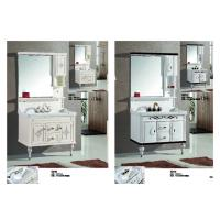Classic Square PVC Vanity Cabinets Soft Close Door Modern Bathroom Vanity Sets Manufactures