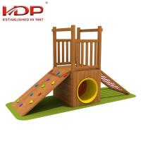 China Small Wooden Playground Equipment Childrens Wooden Swing And Slide Sets on sale