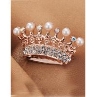 Cheap Korean Fashion Pearl Crown Imitation Diamond Brooch for Women in Jewelry Factory Direct 2015 for sale