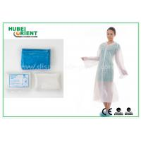 Cheap Waterproof Disposable Lab Coats , Transparent Plastic PE disposable visitor coats for sale
