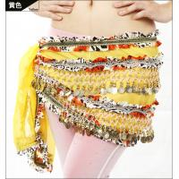 Embroidered chiffon ladies belly dancing waist scarf with golden coins