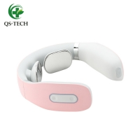 Cheap QS-TECH New Electric Wireless Neck Massager Infrared Physiotherapy intelligent smart Neck Massager shiatsu for sale