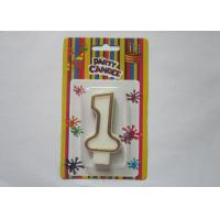 Non - Toxic Kids Birthday Party White Number 1 Candle With Brown Border Manufactures