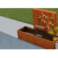 Cheap Square Rust Corten Steel Water Feature With LED Lights Customized Sizes for sale