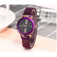 Cheap Magnet Link Luxury Lady Quartz Wrist Watch Blue / Black / Purple Color for sale