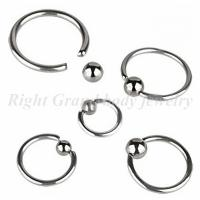 Cheap Surgical Steel Ball Hand Made Polishing Unisex Captive Bead Ring / Piercing Jewelry BCR nose ring for sale