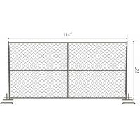 Cheap Temporary Chain Wire Fence 57mm x 57mm chain mesh 6foot x 12 foot with steel pipe block foot for sale