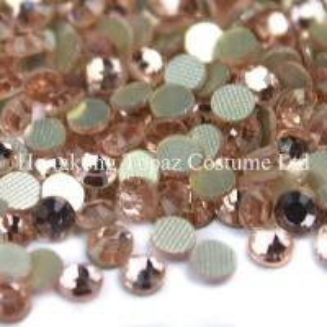 Cheap peach/champagne color Round hotfix rhinestone flatback  Glass beads for sale