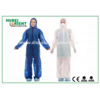 Cheap Waterproof Disposable Coveralls with Hood , Nonwoven Breathable Stripping for sale