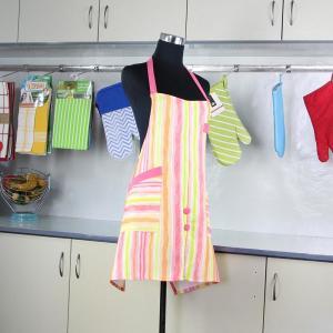 Household Pink Stripes Printed Bib Kitchen Cotton Apron With Pocket