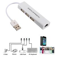 Cheap USB 2.0 LAN Ethernet Adapter with RJ45 3 USB Hub for TV Stick Streaming Device for sale