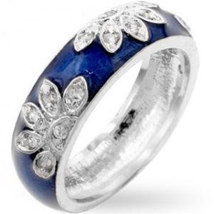 China Rhodium Plated Brass Base Fashion Jewelry Rings Flower Blossom Enamel on sale