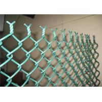 Cheap Green PVC Coated Chain Link Fencing , Playground Plastic Coated Wire Mesh Fence for sale