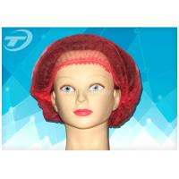 "Non - woven  MOB / clip cap  20 "" , single use , double elastic in red color"