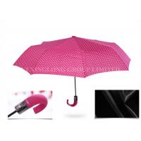 Cheap Beautiful Pink 3 Fold Automatic Umbrella , Large Elbow Curved Handle Umbrella for sale