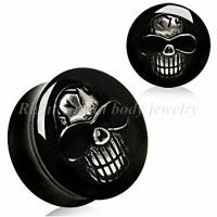 Cheap Customized 28mm, 30mm 3D Epoxy Skull Black Uv Acrylic Ear Expander Plugs, Tapers For Gift for sale