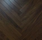 Cheap Black Walnut wood parquet floor, herribong walnut engineered flooring, fishbone walnut wooden floor for sale