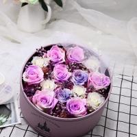Cheap 2020 New Design Romantic Valentines′ Day Gift Preserved Roses Flower 12 Roses in Round Gift Box for Wife or Girlfriend for sale