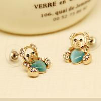 Cheap Fashion Accesories Costume Classic Style Cute Bear Pendant Earrings 18K GP Gold Plated Green Sapphire Stud Earrings for sale