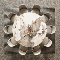 Cheap Sintered Stone Rock Plate Furniture Color Palette Dia 80cm For Dining Table for sale