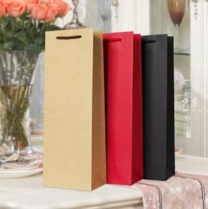 Cheap CMYK 100gsm Kraft Paper Wine Bags for sale