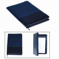 Cheap Zipper Leather File Folders, Made of PVC, Customized Logos are Accepted for sale