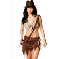 Cheap Indiana Jane Jungle Sexy Lingerie Catwoman Costume , Wild West Cowgirl Fancy Dress for sale