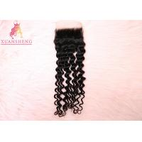 China Italy 4x4 Lace Closure Full Cuticle Aligned Deep Wave 100% Virgin Human Hair on sale