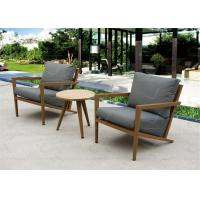 China Small Balcony Furniture Aluminum Outdoor Furniture Set with Teak Wood Table on sale
