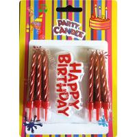 Cheap 12 Pieces Passionate Red Golden Birthday Candles With Plastic Card for sale