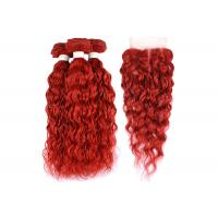 Buy cheap Brazilian Red Water Wave Hair Extensions Bundles With Closure Curly Human Hair from wholesalers