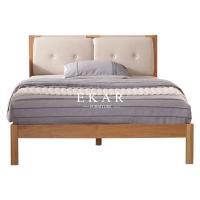 Cheap Solid Oak Wood Fabric Headboard Nordic King Size Bed for sale
