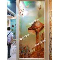 Cheap Engraved Decorative  Glass Partition Wall for sale