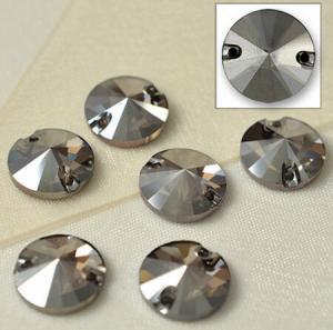 Cheap nice quality rivoli sew on button crystal stone black diamond for sale