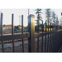 China Garrison Fencing Panels Stain Black Powder Coating Rail 40mm 45mm and 50mm available Upright OD 25mm tube with caps on sale