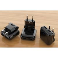 Power System Black EU foldable plugs with dual USB prots wall home chargers UL/FCC-/RoHS marked LED lights Manufactures