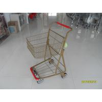 Cheap Supermarket 40 L Singel Basket Metal Shopping Cart With Wheels And Front Bumper for sale