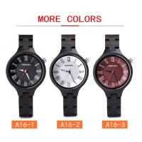 Cheap 3ATM Retro Quartz Wooden Watches With Custom Logo Ebony Wood Timepieces for sale