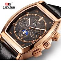 China New man black brown leather band date day automatic sport military wrist watch 8383A on sale