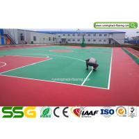 Cheap Indoor Basketball Silicon PU Sports Flooring Stable Surfacing Materials Red / Green for sale