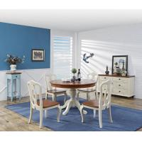 Cheap Mediterranean Style Dining room Furniture by wood table and chairs with Buffet Cabinet in white/blue painting for sale