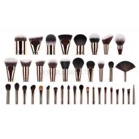 Custom Private Labeled Makeup Brushes High End Luxury With Rosy Brass Ferrule